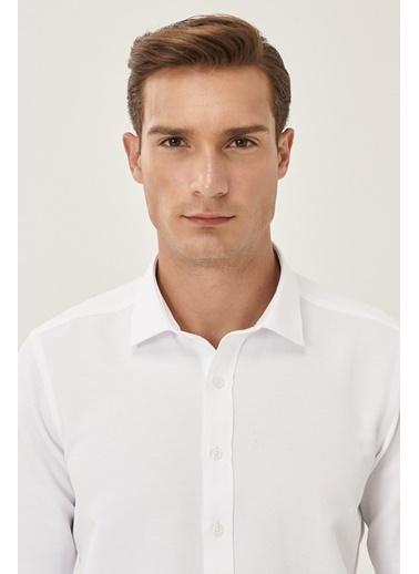 Altınyıldız Classics Tailored Slim Fit Dar Kesim Klasik Gömlek Yaka Armürlü Gömlek 4A2021200039 Beyaz